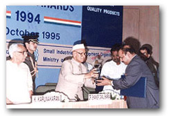 National Award for Quality Products from Govt. of India, Ministry of Industry.<br> Dr. Majeed receives the award from President of India