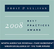 Sabinsa Corp. is the recipient of Frost & Sullivan 2008 North American Personal Care Ingredient Green Excellence of the Year Award. The award is in acknowledgment of Sabinsa's strategically balanced green product offering, proactive and sustainable marketing practices, and the continuous ability to satisfy client needs in an increasingly diverse and green-conscious market space